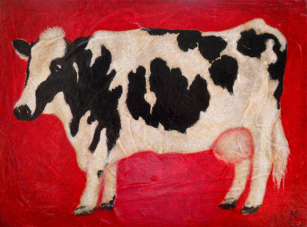 """Cow"" original fine art by Karen Roncari"