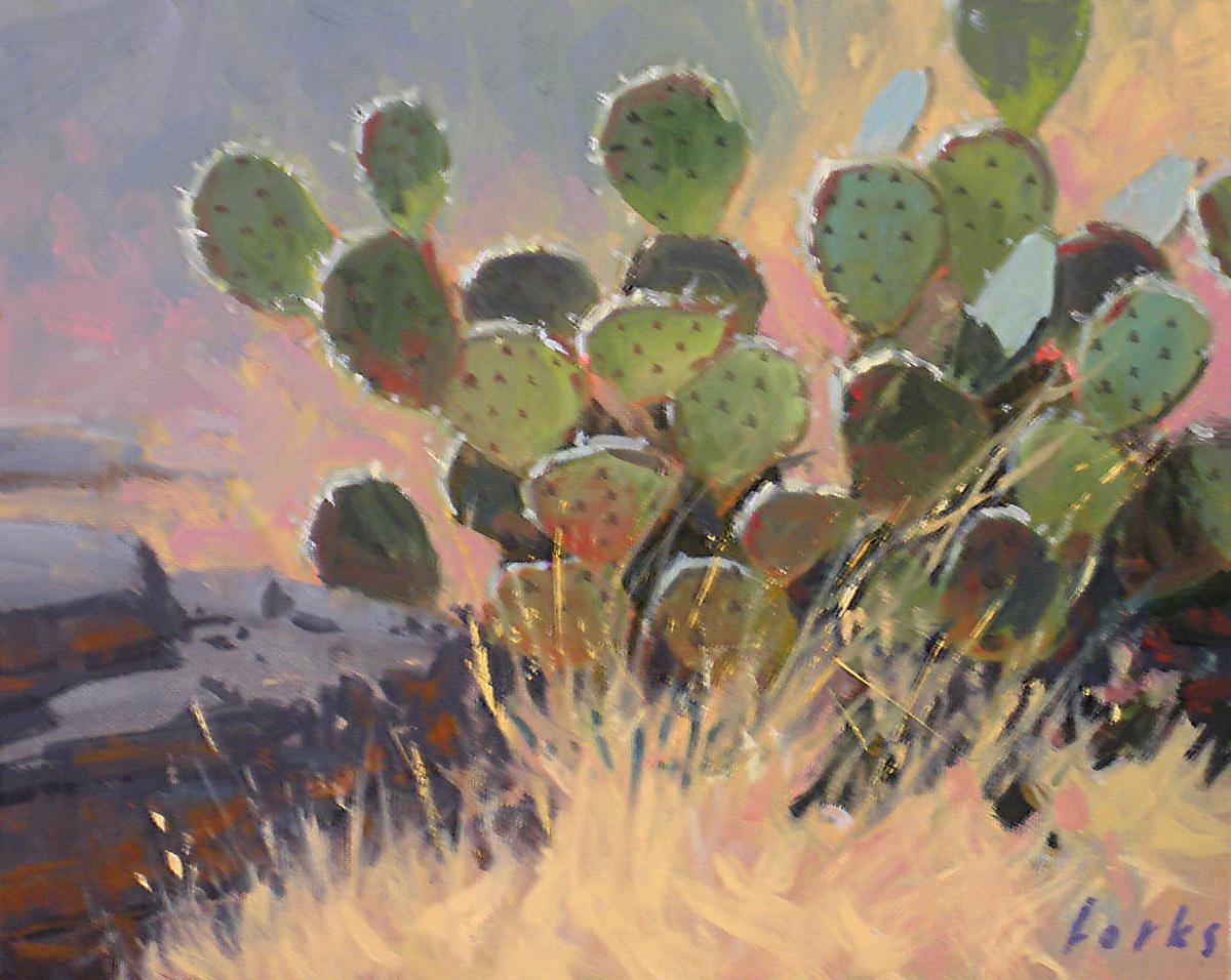 """Cactus and Rock"" original fine art by David Forks"
