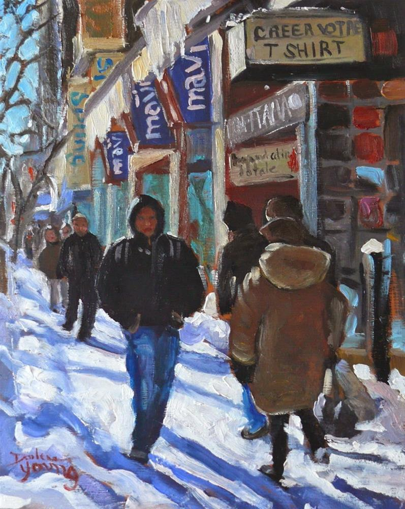 """818 Montreal Winter Scene, Downtown, 8x10, oil"" original fine art by Darlene Young"