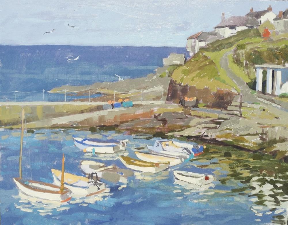 """Portscatho harbour in evening light"" original fine art by Haidee-Jo Summers ROI"