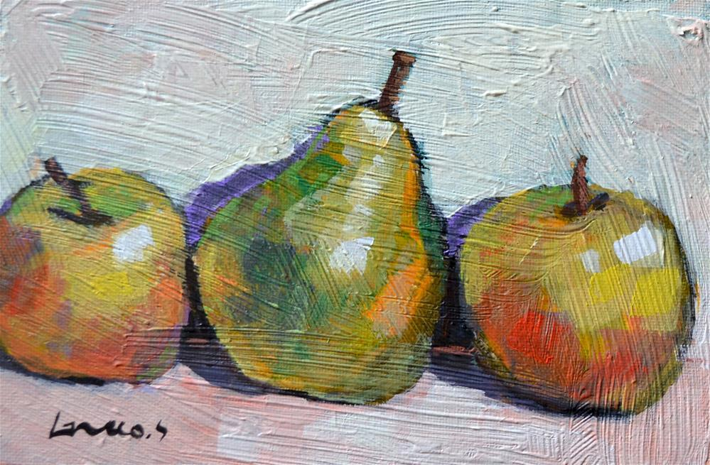 """""""Apples and pear"""" original fine art by salvatore greco"""