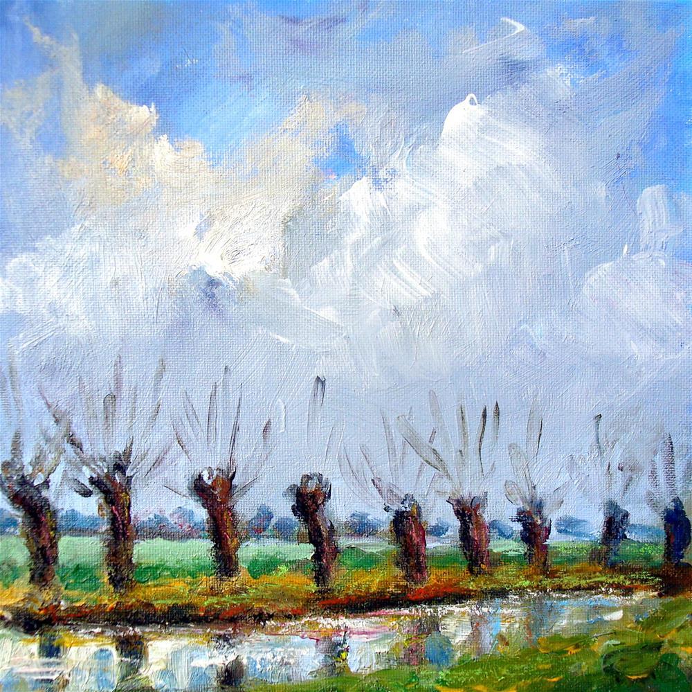 """""""Willows in the polder"""" original fine art by Wim Van De Wege"""