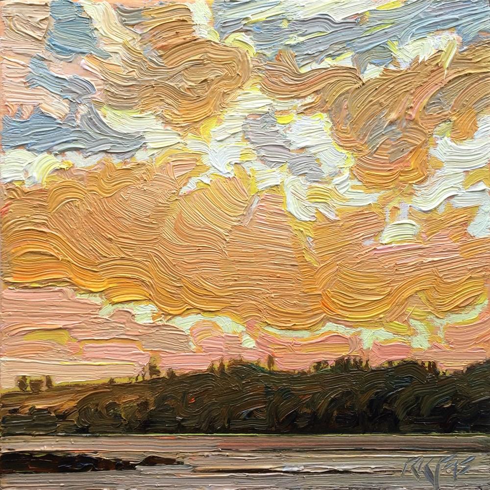 """""""Lagoon Sunset: 6x6 oil on panel"""" original fine art by Ken Faulks"""
