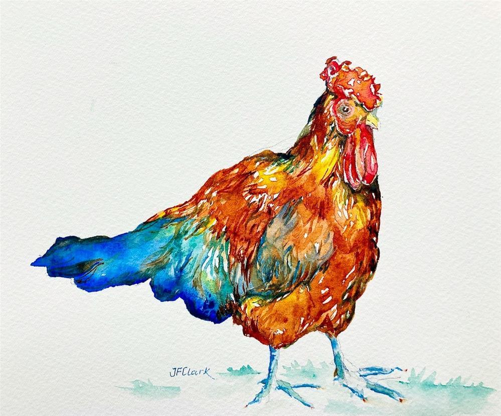 """Rainbow Rooster #1"" original fine art by Judith Freeman Clark"