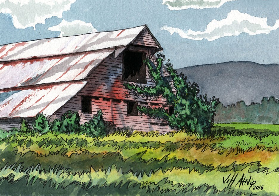 """Barn With Ivy"" original fine art by Jeff Atnip"