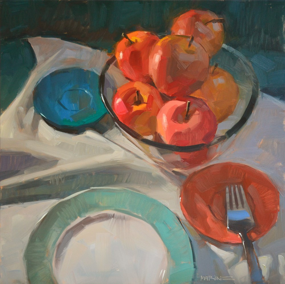 """How to Eat an Apple"" original fine art by Carol Marine"