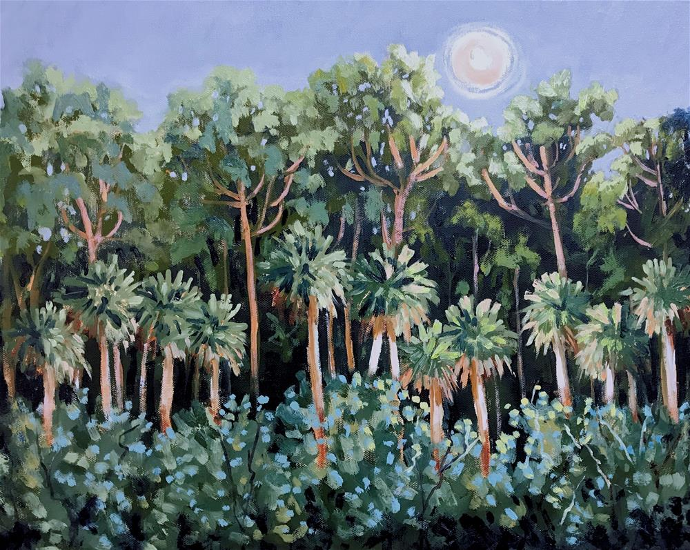 """Night Palms"" original fine art by Linda Blondheim"
