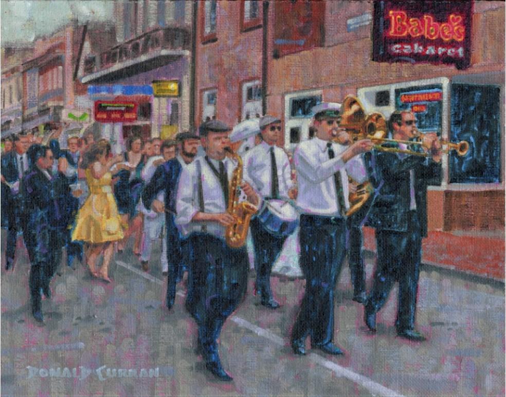 """Street Band New Orleans"" original fine art by Donald Curran"