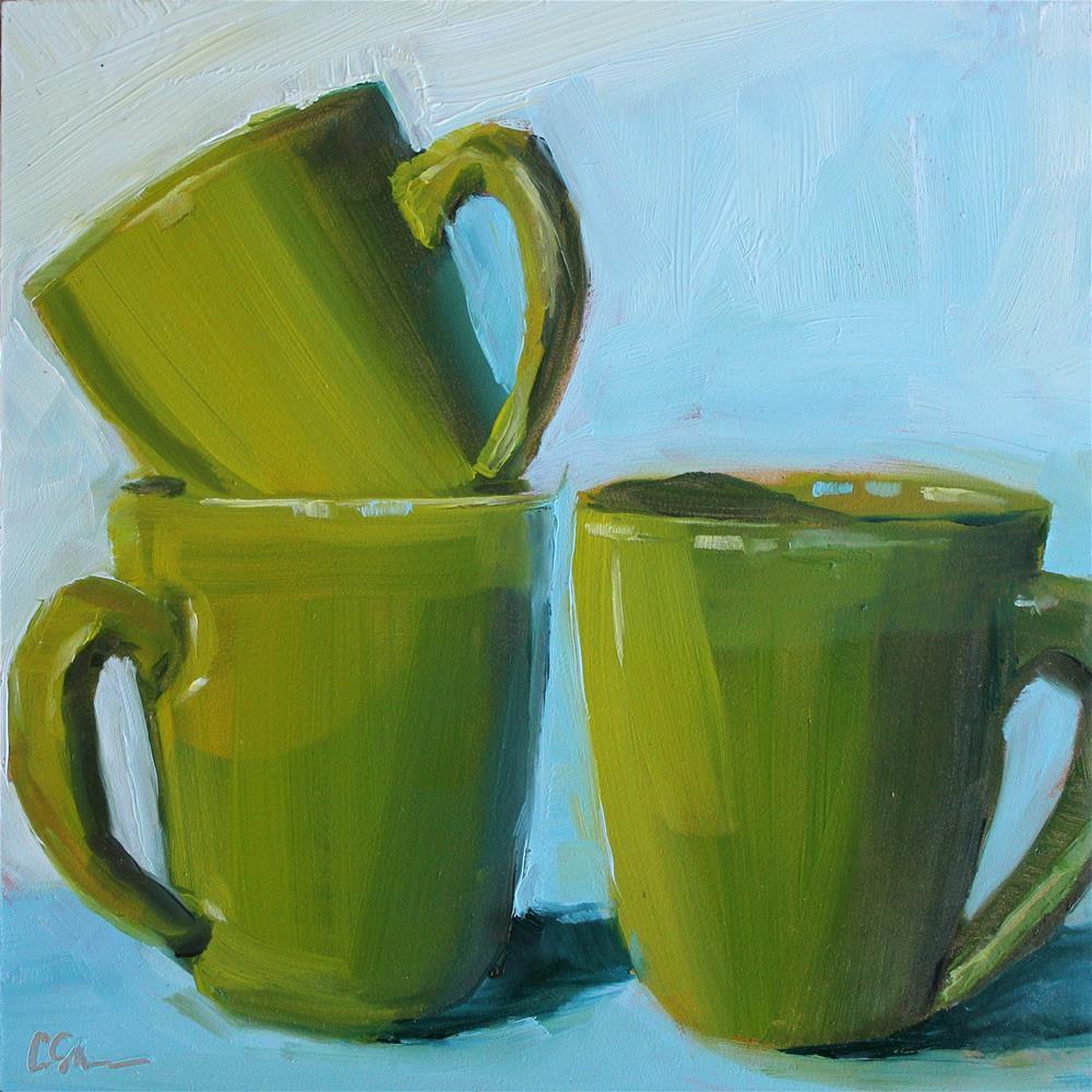 """Green Cups"" original fine art by Corinne Slusser"