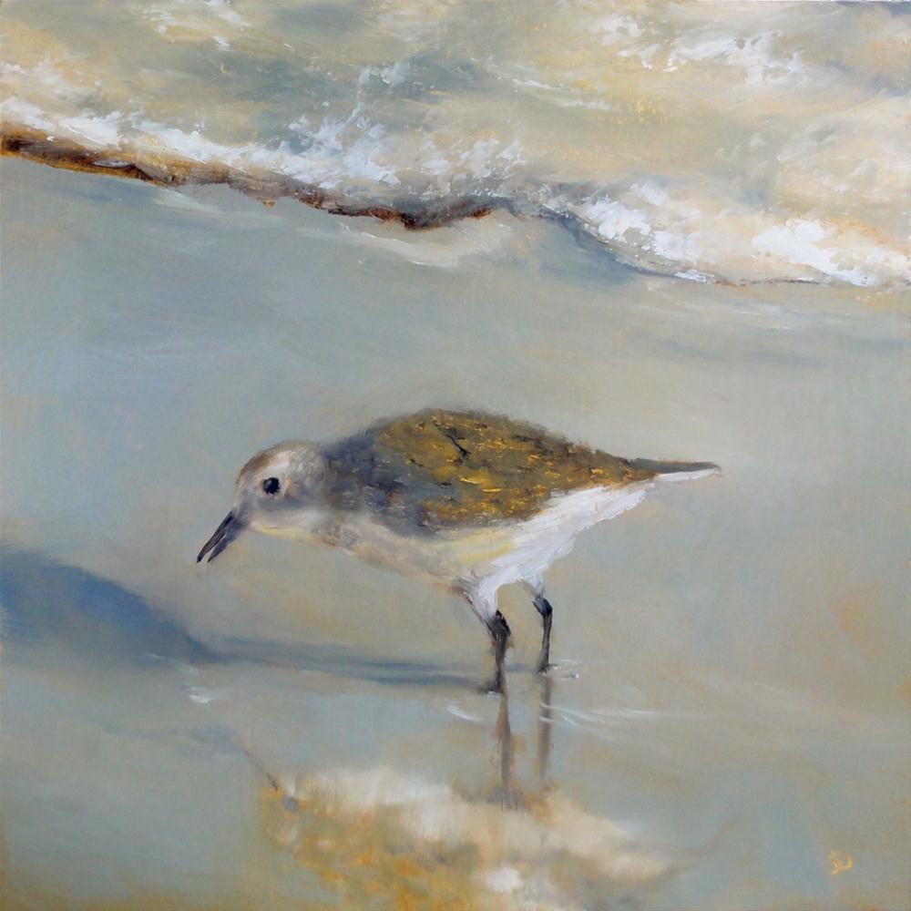"""Little Fat Birdie Goes To The Beach!"" original fine art by Dalan Wells"