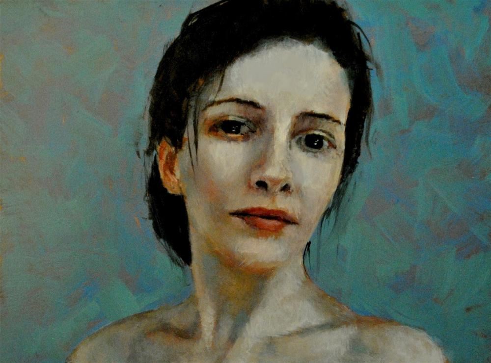 """A Woman 6x8 oil on copper in darkwood frame"" original fine art by David Larson Evans"