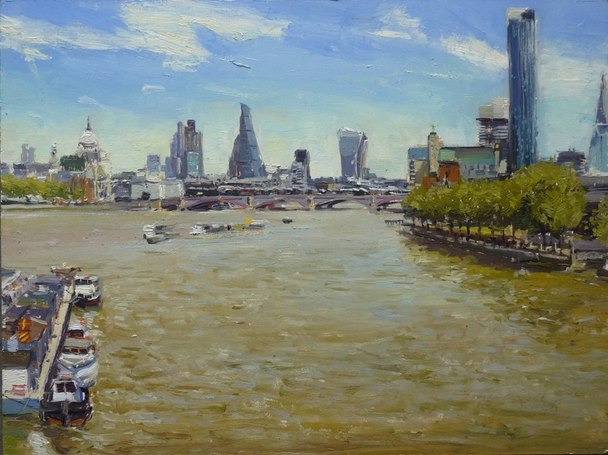 """London Skyline from Waterloo Bridge"" original fine art by Adebanji Alade"