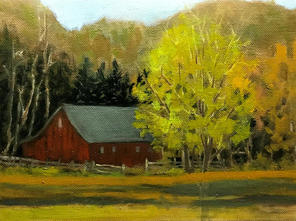 """barn in the woods"" original fine art by Betty Argiros"