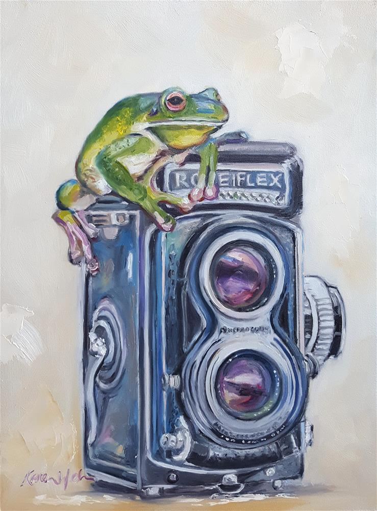 """Frogtography - In Defense of Joy"" original fine art by Karen Weber"