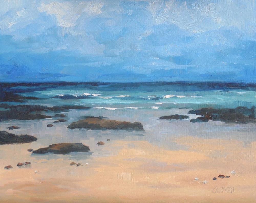 """A Walk on the Beach, 8x10 Oil on Canvas Panel Seascape, Daily Painting"" original fine art by Carmen Beecher"