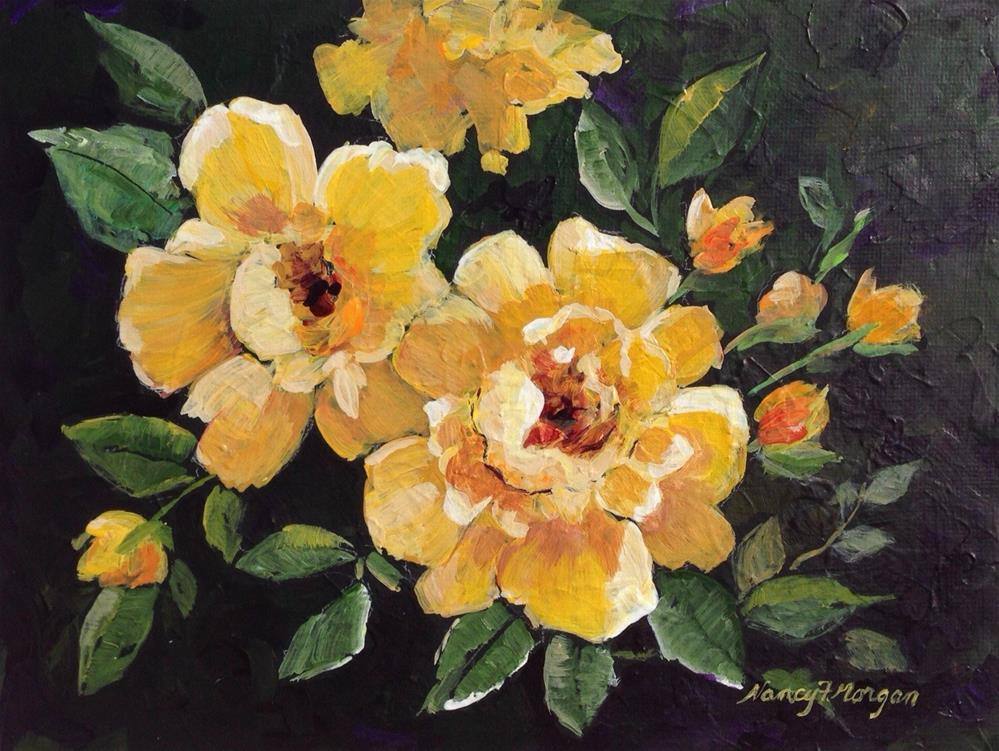 """Yellow Roses"" original fine art by Nancy F. Morgan"