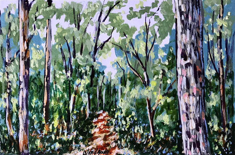 """ Deer Woods Trail"" original fine art by Linda Blondheim"