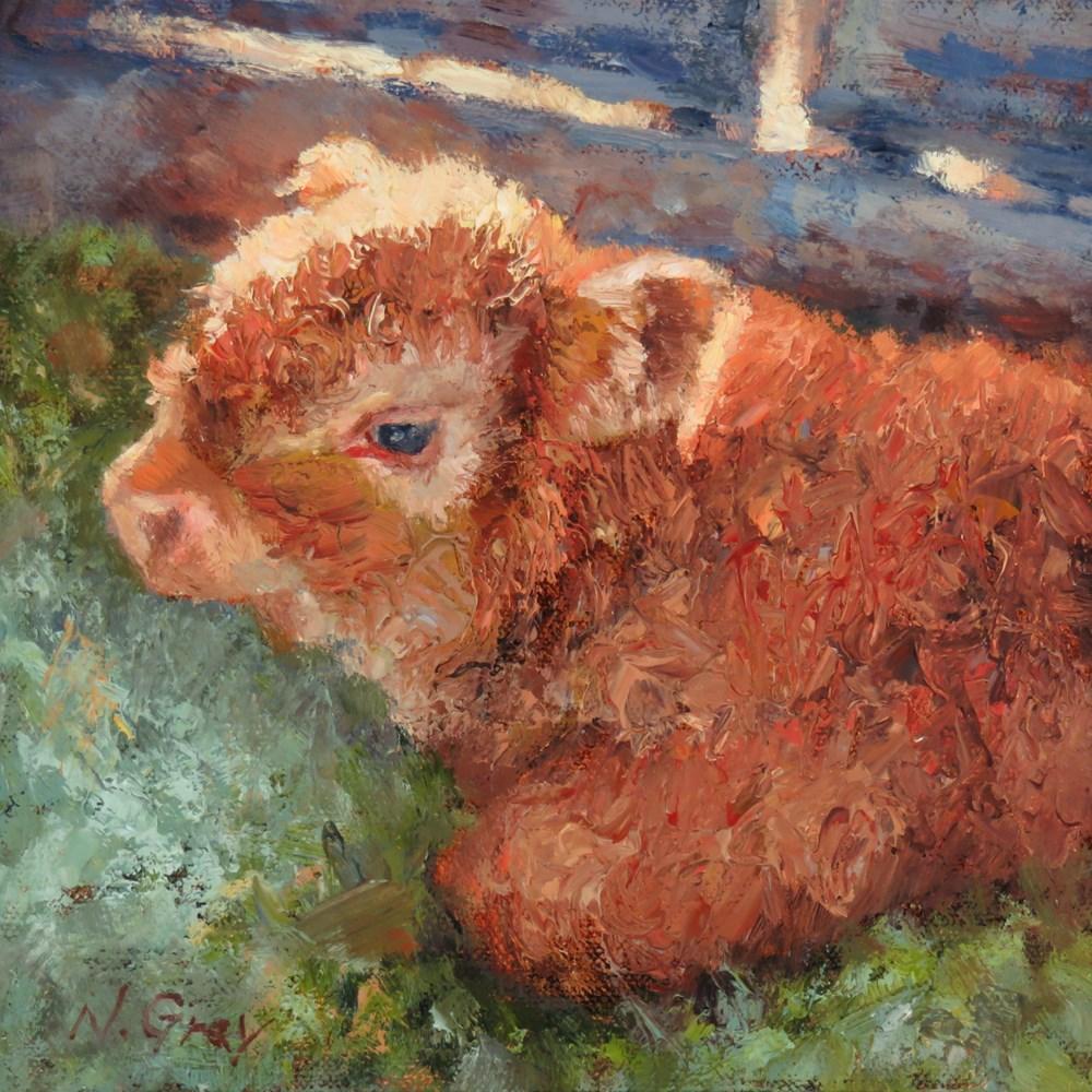 """Benji in the Shed"" original fine art by Naomi Gray"