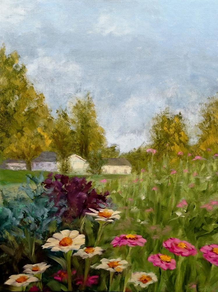 """""""Zinnias In The Garden"""" original fine art by Dalan Wells"""