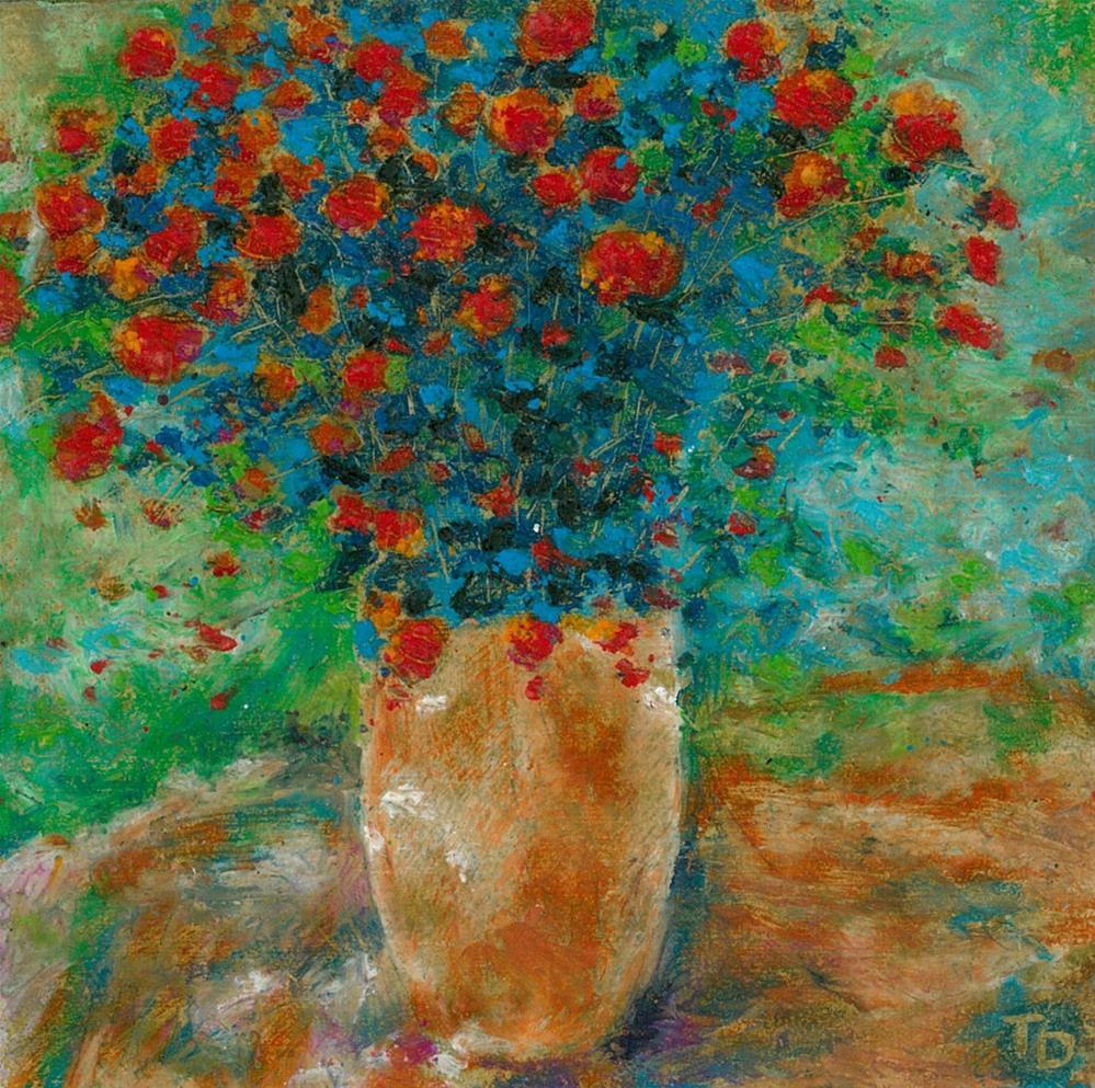 """343 FLOWERS STYLISED 10"" original fine art by Trevor Downes"