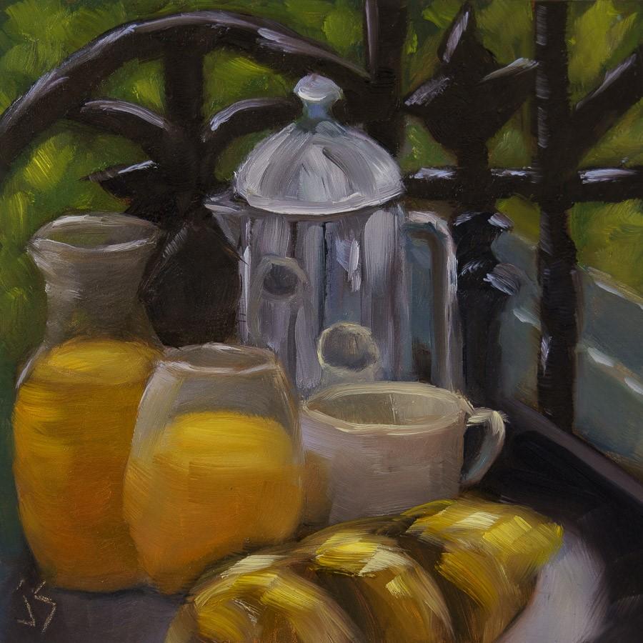 """Breakfast on the Avenue"" original fine art by Johnna Schelling"