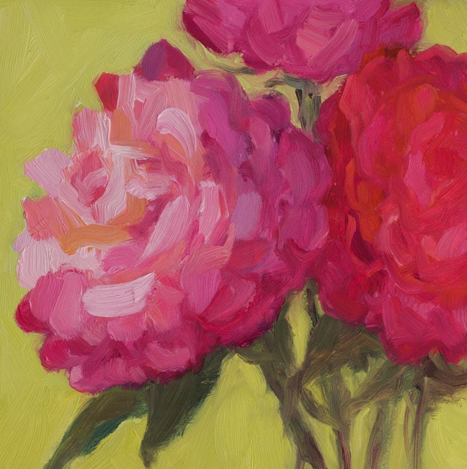 """Blowsy Rosies"" original fine art by Jana Bouc"
