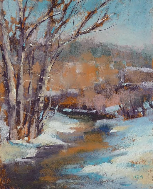 """What to do With a New Box of Pastels..Winter landscape"" original fine art by Karen Margulis"