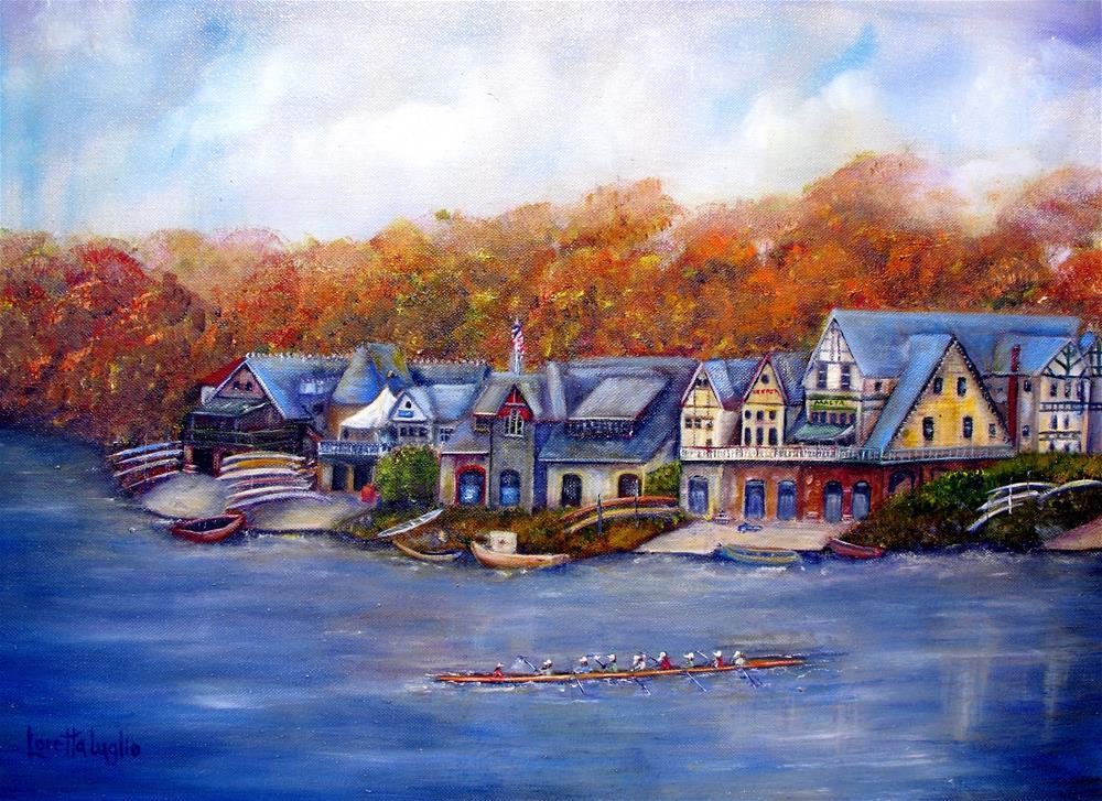"""""""Boathouse Row in Philadelphia"""" original fine art by Loretta Luglio"""