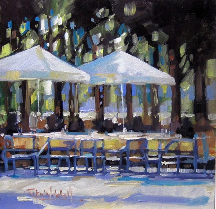 """""""No 580 Afternoon Umbrellas"""" original fine art by Robin J Mitchell"""