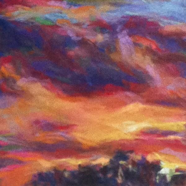 """A YELLOW SWEEP - 4 1/2 x 4 1/2 sky pastel by Susan Roden"" original fine art by Susan Roden"