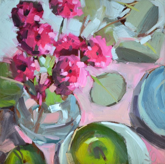 """""""Apples and Blooms"""" original fine art by Jessica Green"""