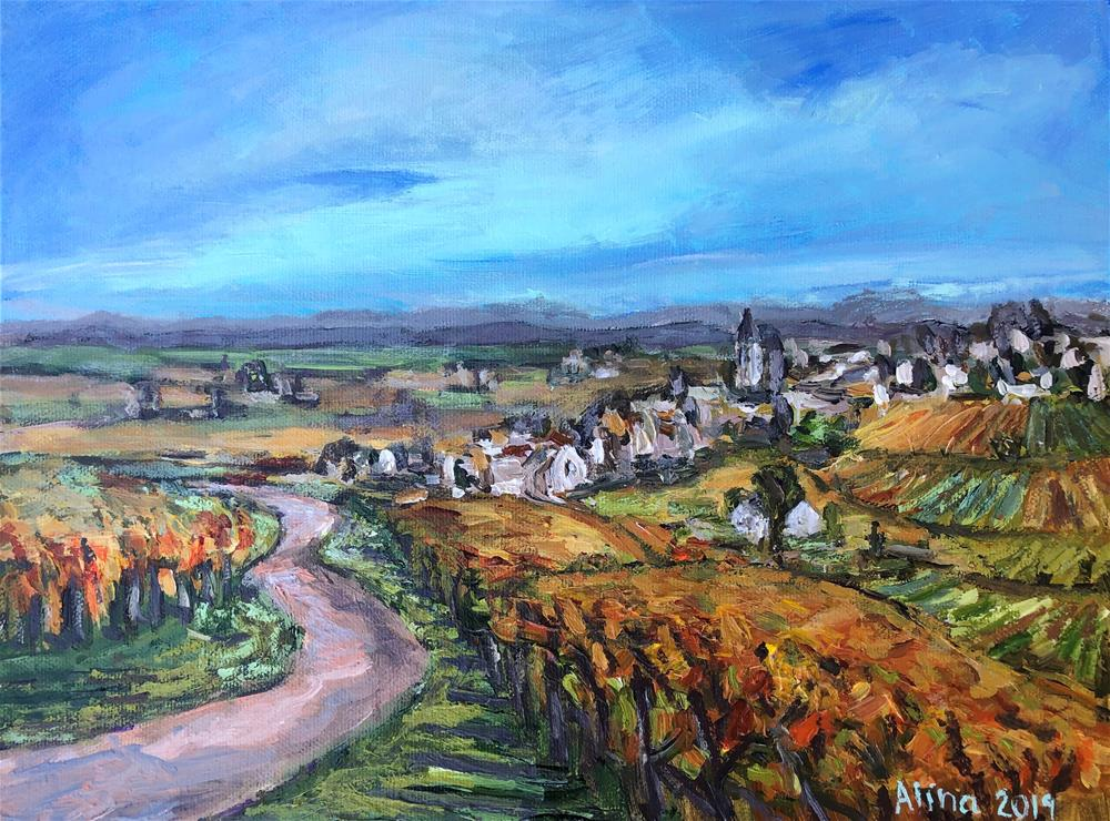 """Vineyards View in Alsace"" original fine art by Alina Vidulescu"