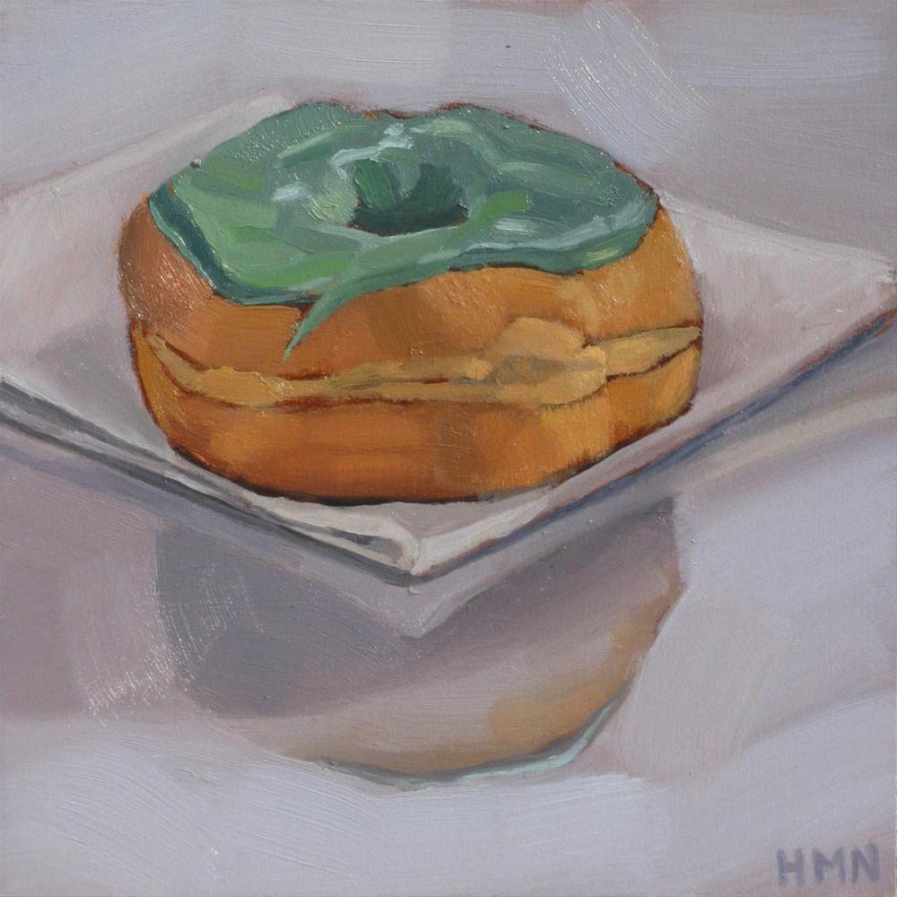"""""""Jolly Green Donut"""" original fine art by Heather Nibert"""