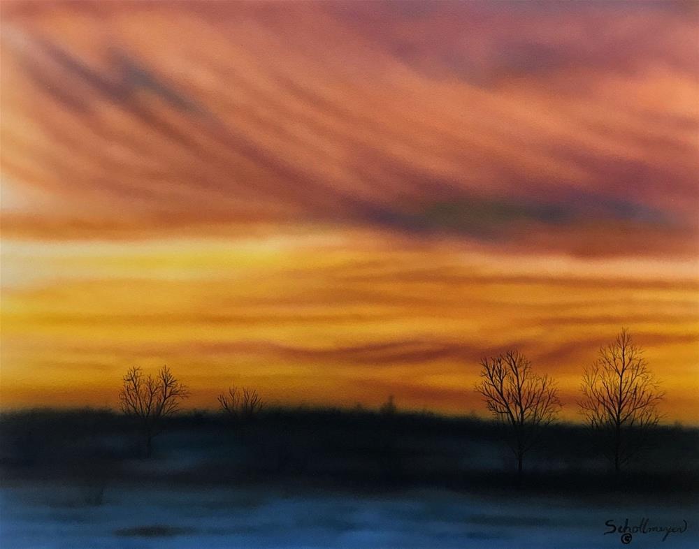 """Fiery Sunset"" original fine art by Fred Schollmeyer"