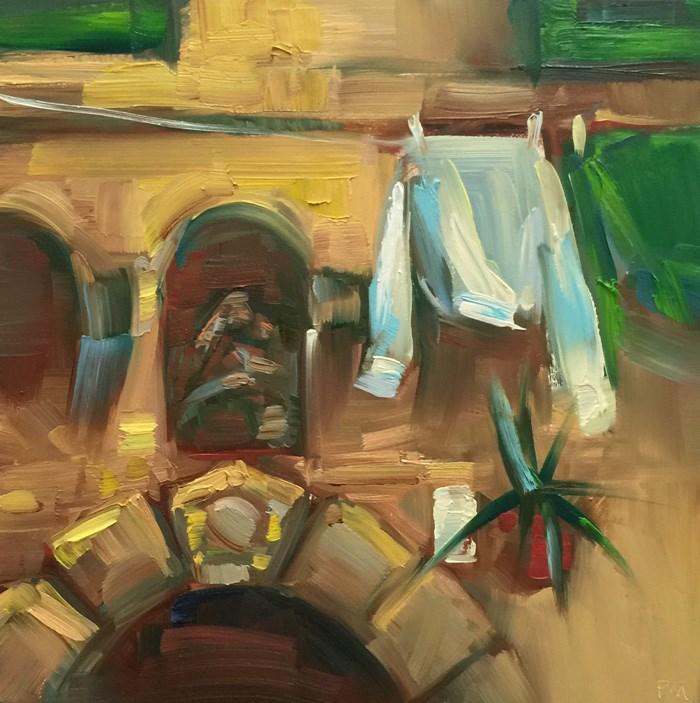 """""""Cinque Terre Laundry List"""" original fine art by Patti McNutt"""