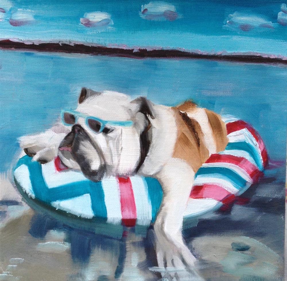"""Canine Bathing Beauty"" original fine art by Bev Thibault"