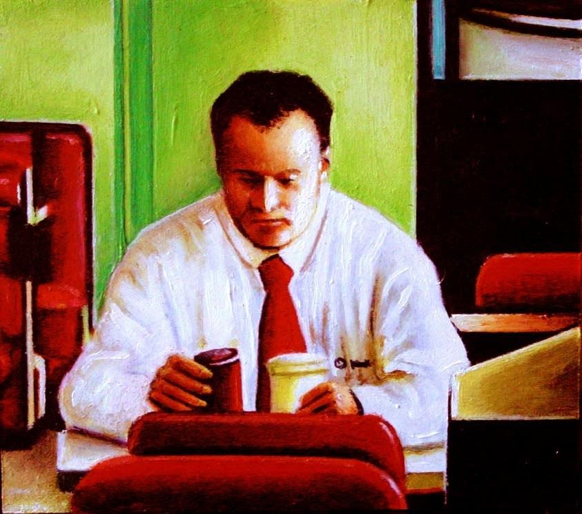 """Burger King- Painting Of Man Eating At Burger King"" original fine art by Gerard Boersma"