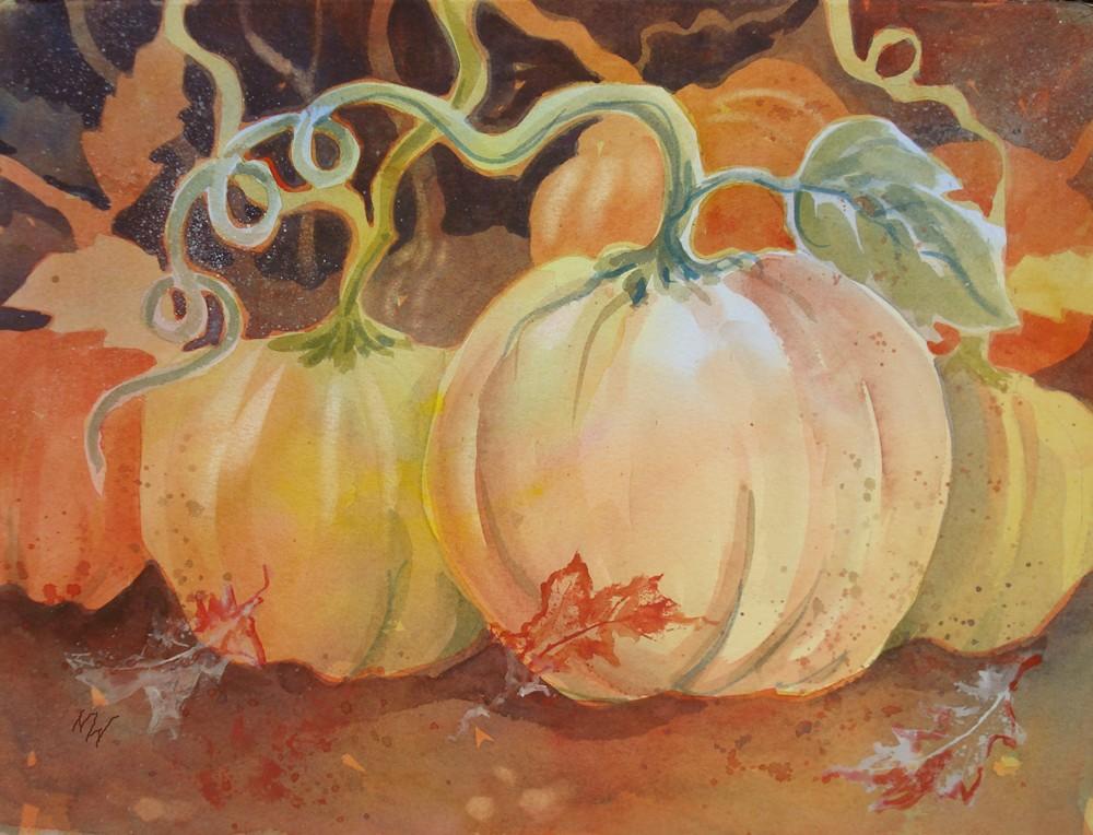 """""""Pumpkin Vines"""" original fine art by Margie Whittington"""