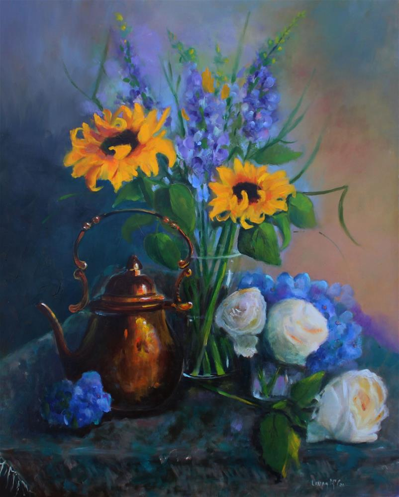 """Sunflowers and Copper Teapot"" original fine art by Linda McCoy"