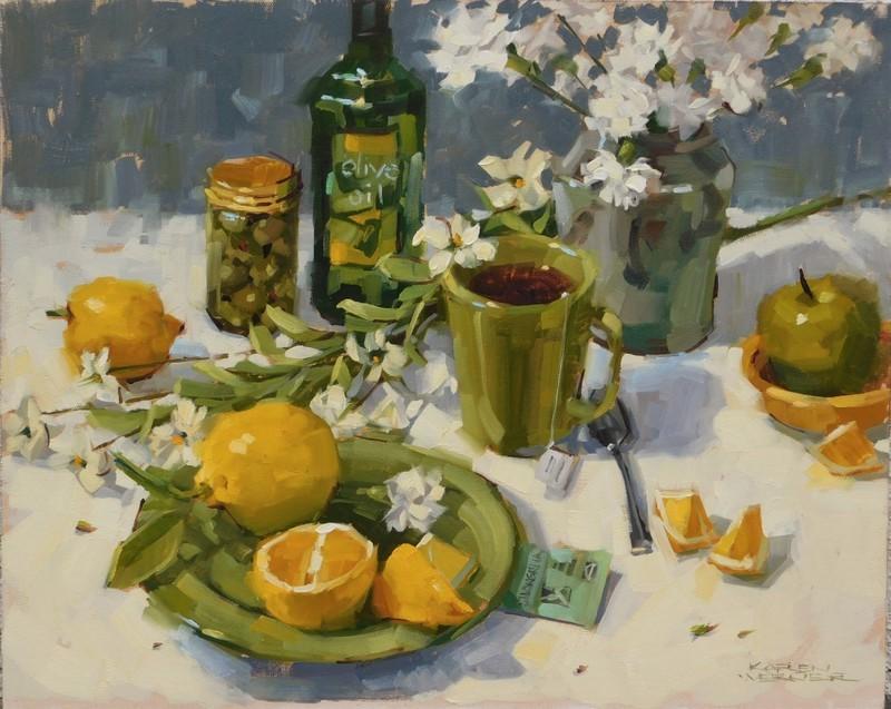 """""""Olive Oil"""" original fine art by Karen Werner"""