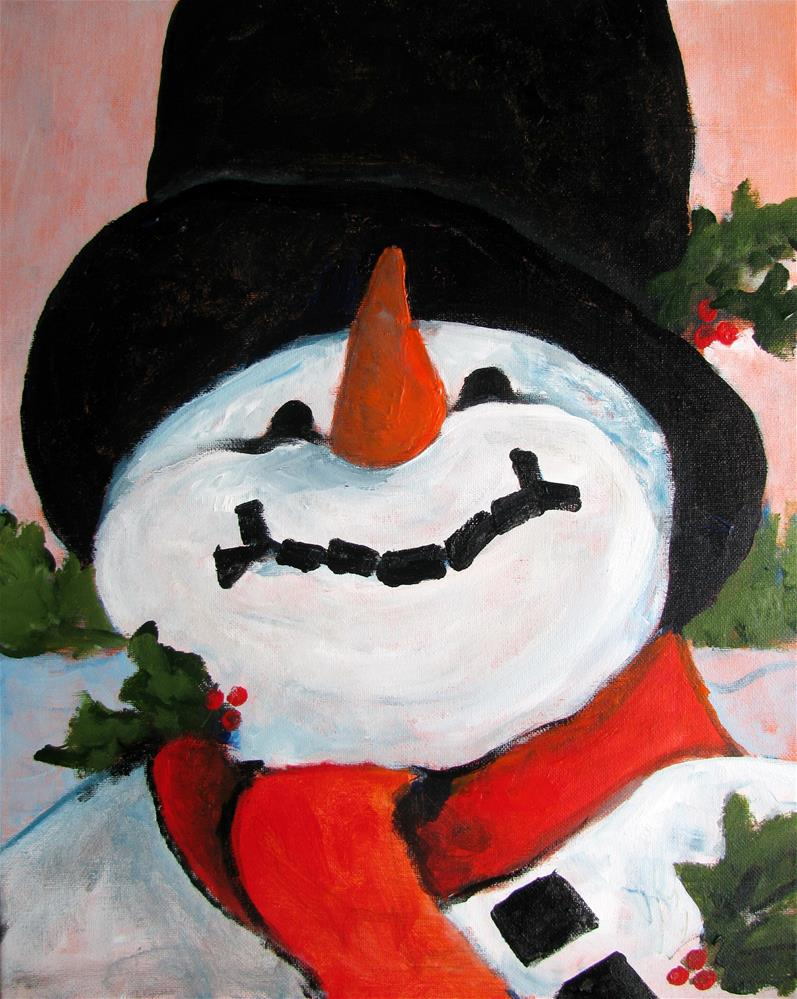 """Snowman"" original fine art by Susan Elizabeth Jones"