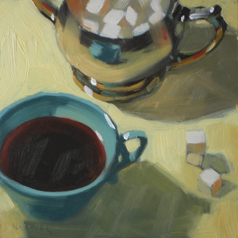 """Sweet black coffee 6x6 oil"" original fine art by Claudia Hammer"