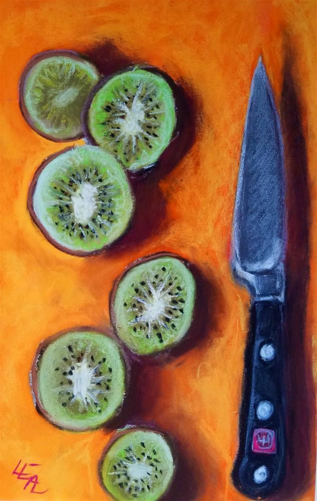 """""""Kiwi on Orange"""" original fine art by Anna Lisa Leal"""