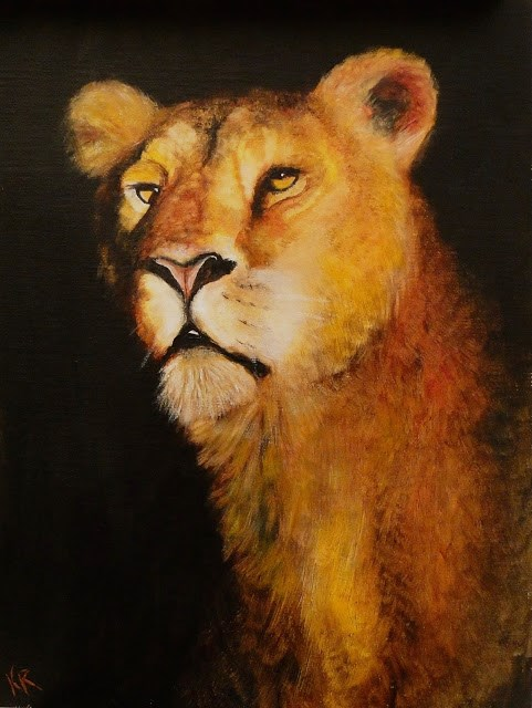 """Golden Series no 3 - Lion"" original fine art by Karen Robinson"