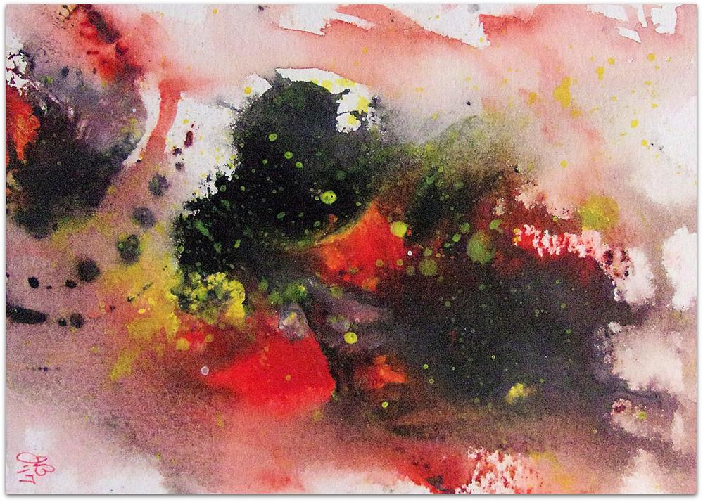 """Splash Study in Red, Yellow, and Black"" original fine art by Jan Burch"