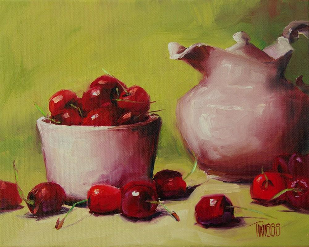 """Cherries & Heirloom Creamer"" original fine art by Lori Twiggs"