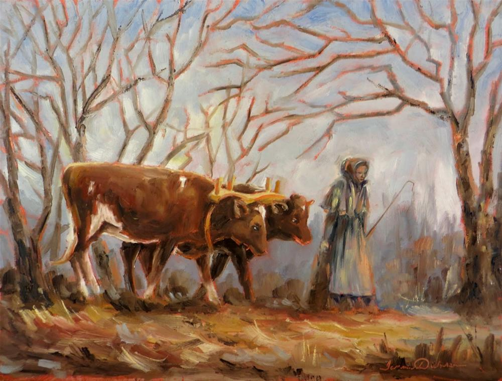 """""""Driving the Oxen"""" original fine art by Tammie Dickerson"""