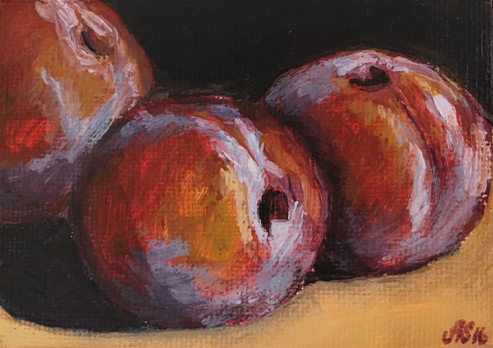 """Juicy plums"" original fine art by Anna Starkova"