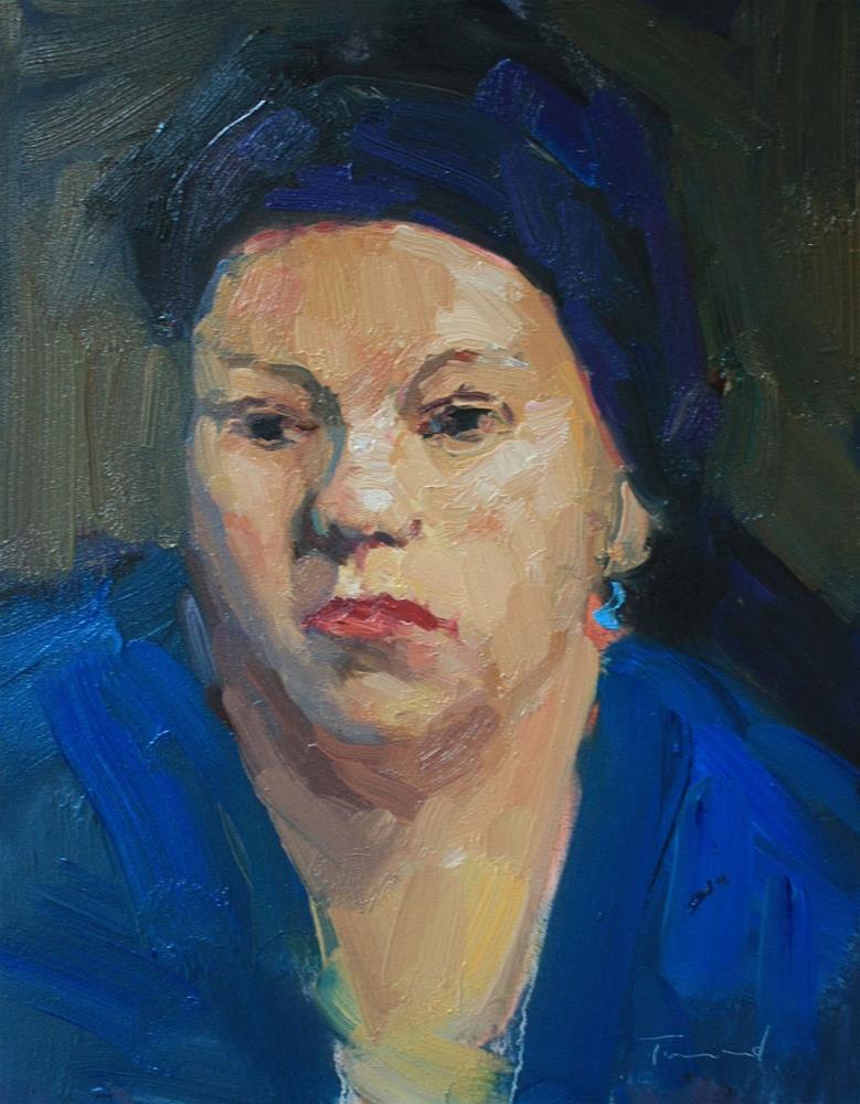 """""""Woman in Blue"""" original fine art by Kathryn Townsend"""