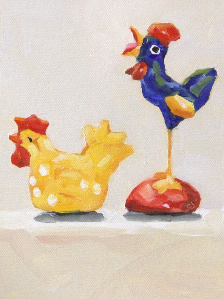 """""""The Super Bowl And The traveling Chicken"""" original fine art by C J Roughton"""